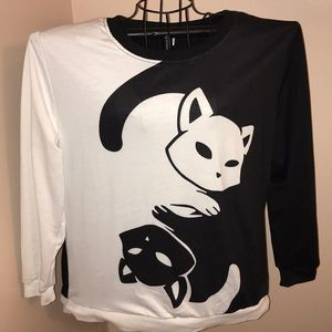 Anny Fashion Black & White Cat Top XXL